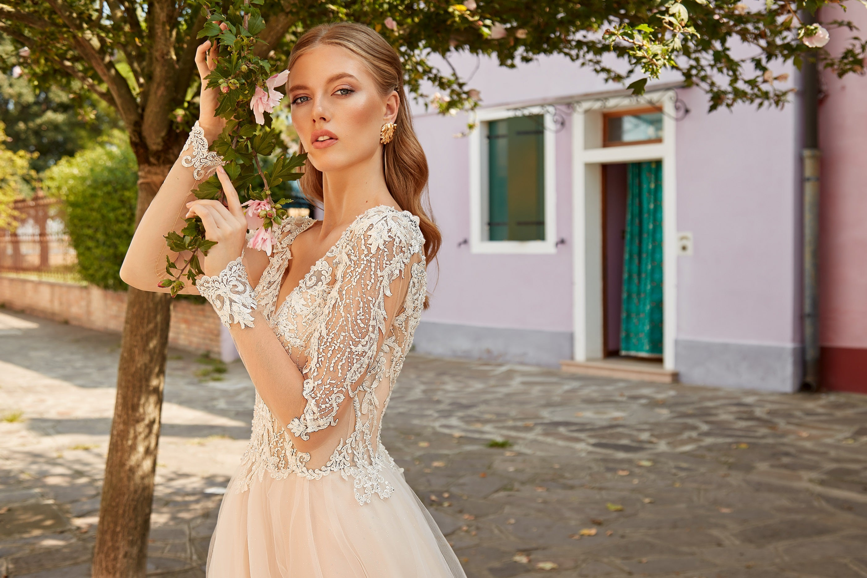 Francesca, Blush Long Sleeve Lace A-Line Romantic Wedding Dress with Tulle Side Slit Skirt - Also Available in White