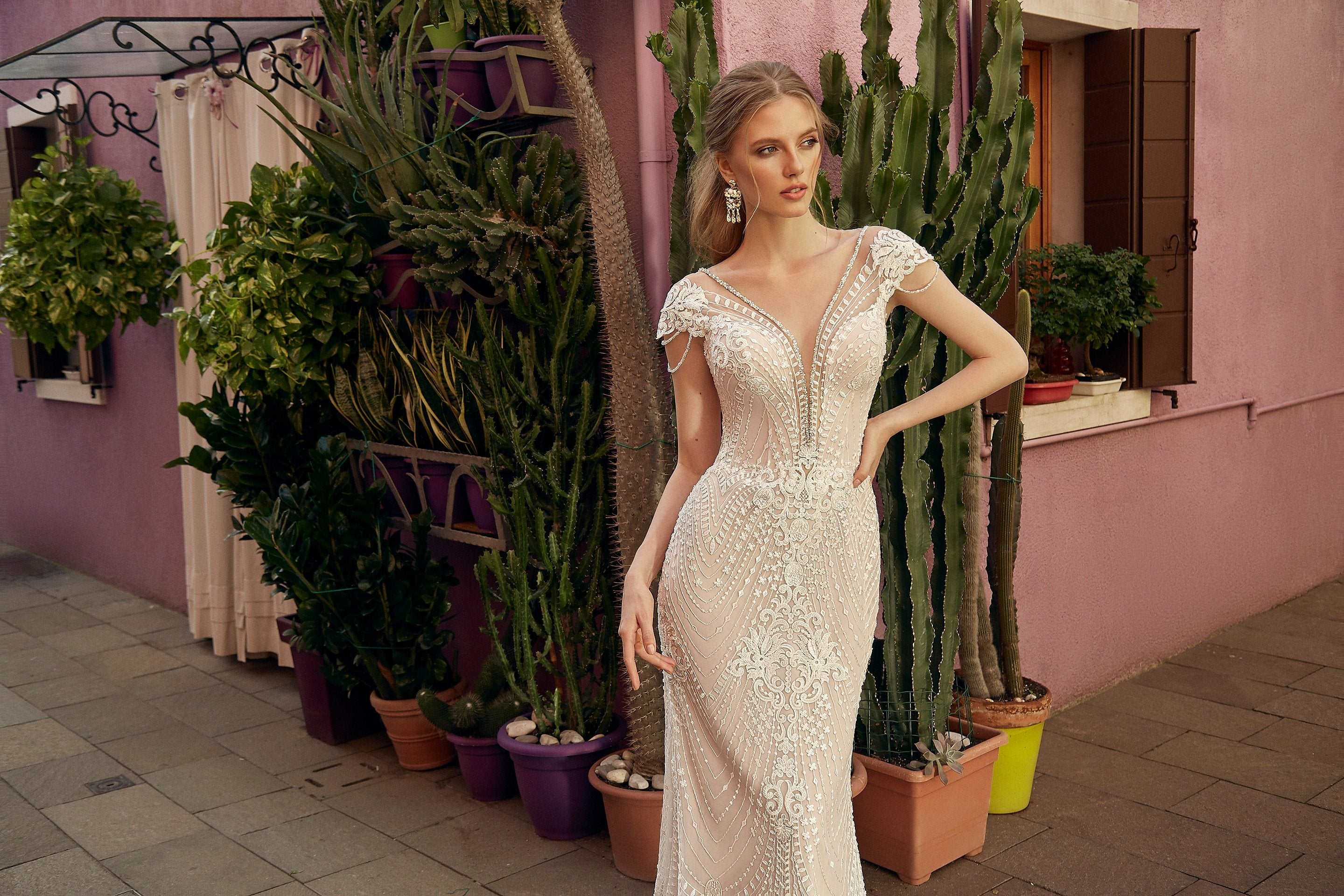 Nadine, Allover Lace V-Neck Cap Sleeves Embroidered Sheath Wedding Dress with Scalloped Lace Edge Train and Illusion Back