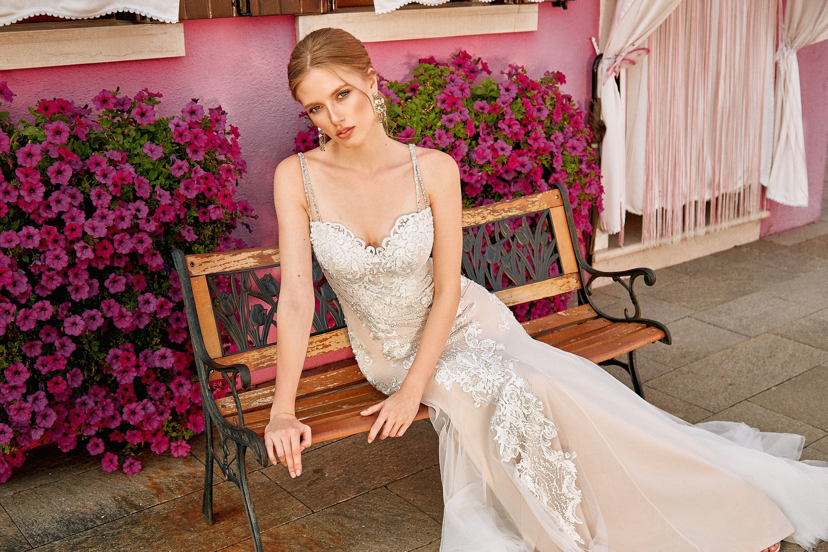 Suzanna, Summer Wedding Mermaid Modern Wedding Dress with Sweetheart Neckline and Frothy Tulle Train