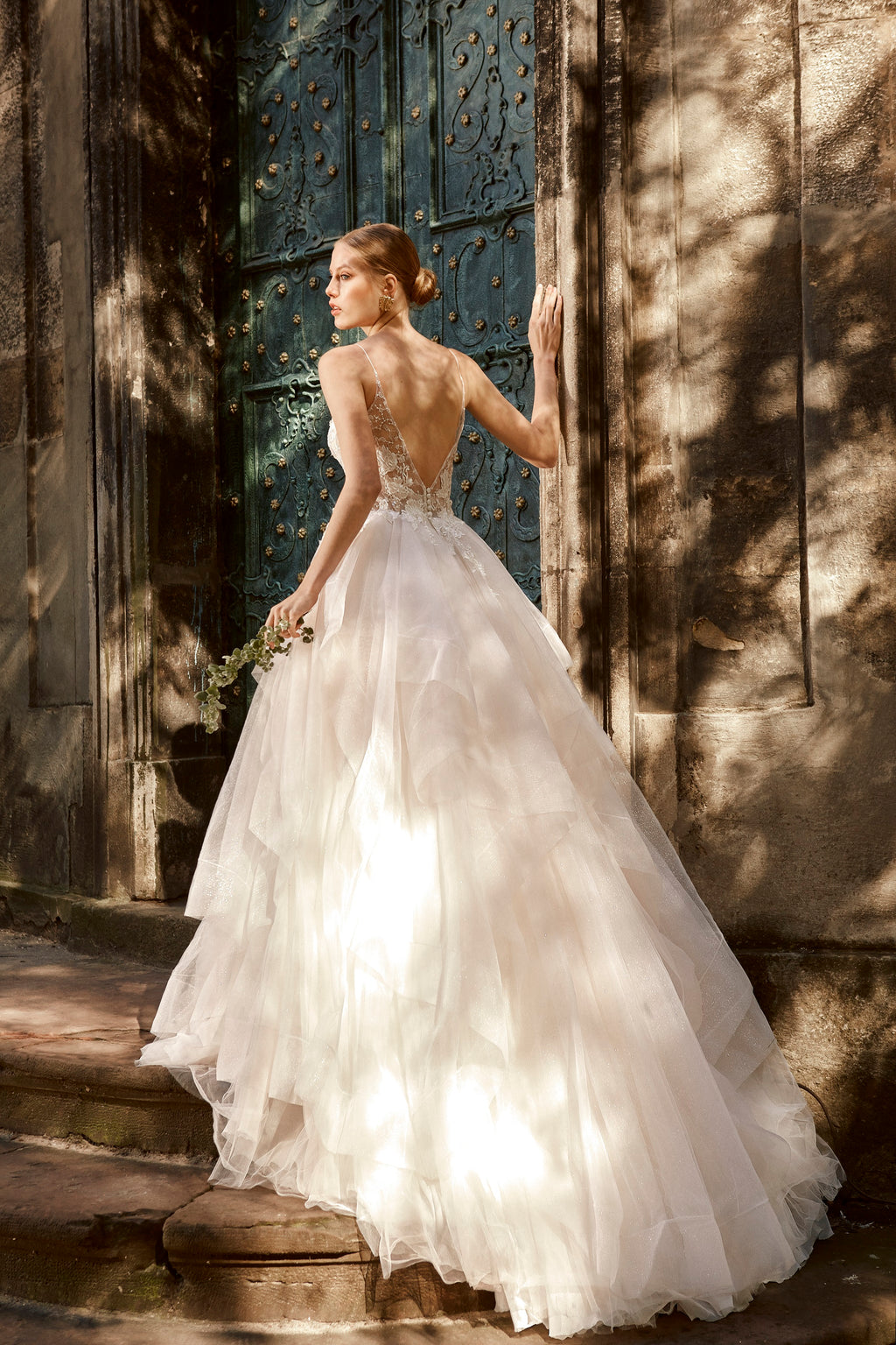 Sonia, Multi-Layer Organza Ruffled Skirt A-Line Open Back Wedding Dress with Sweetheart Floral Lace Bodice and Spaghetti Straps