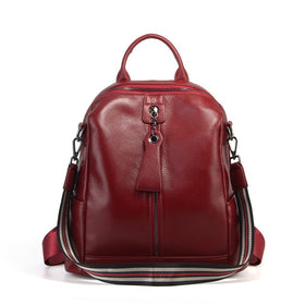 Nesitu Highend Coffee Red Grey Black Genuine Leather Women's Backpack Female Girl Backpacks Lady Travel Bag Shoulder Bags #M007
