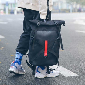 Leisure Unisex Backpack Cloth Fashion Student Bagpack Stitching Couple Trend Rucksack street Youth Multi-function Bag Wear