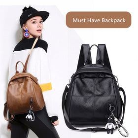 Vento Marea Women Backpack Shoulder Bag Soft Leather Black Travel Female Knapsack Classic Bear Hanging Purse Youth Rucksack 2019