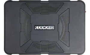 "Kicker 11HS8 Hideaway™ compact powered subwoofer: 150 watts and an 8"" sub"