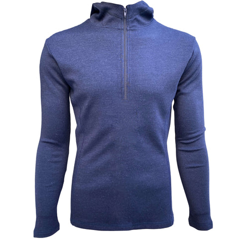 Men's navy blue fleece hoodie with half zip made of alpaca wool