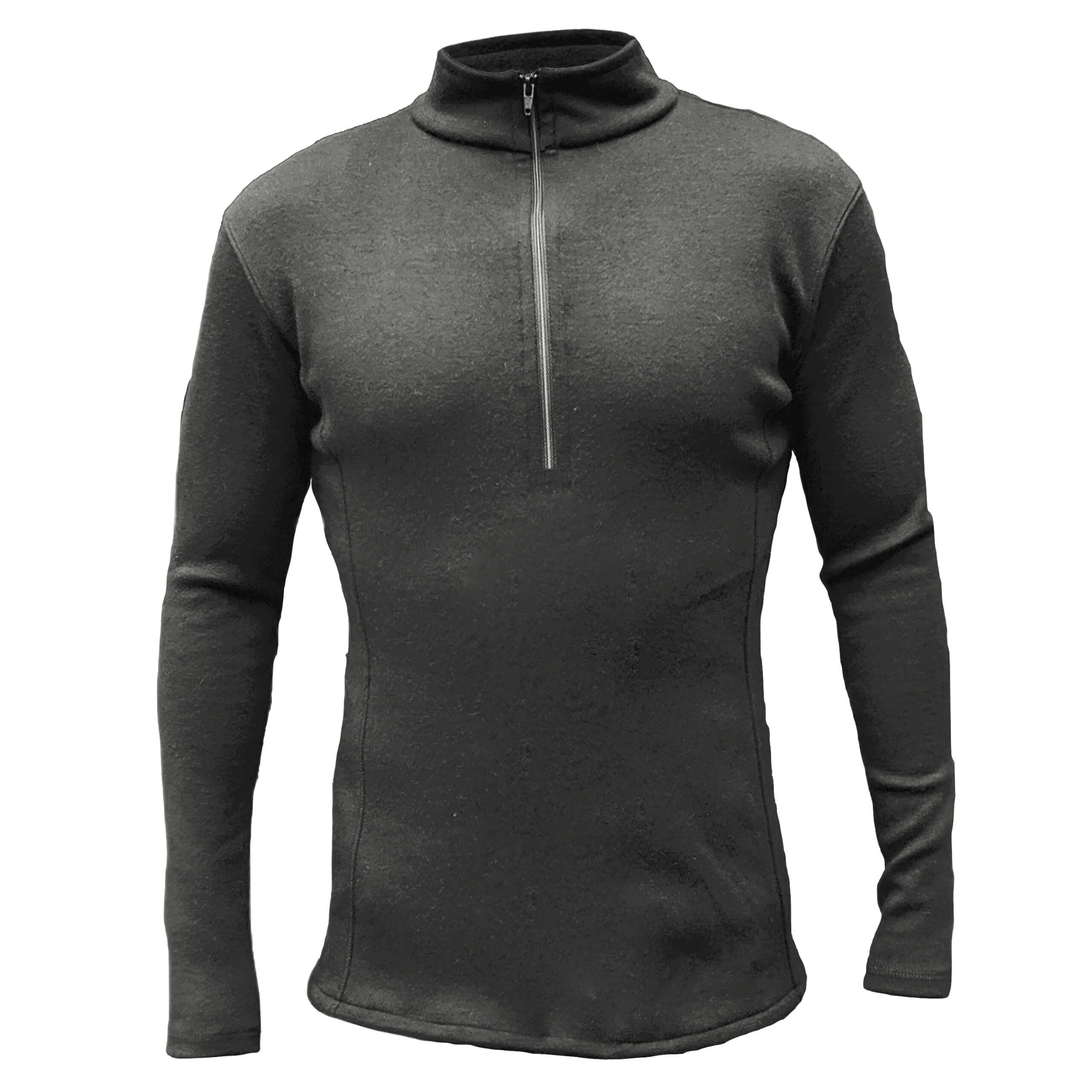 Men's alpaca wool mid layer with half zip and neck in black