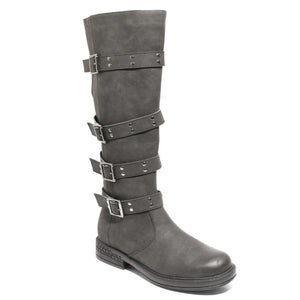 Three quarter view black four buckle boots