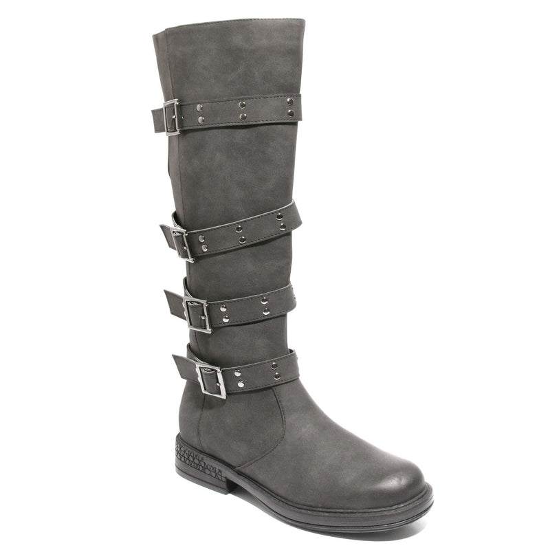 Three quarter view taupe four buckle boots