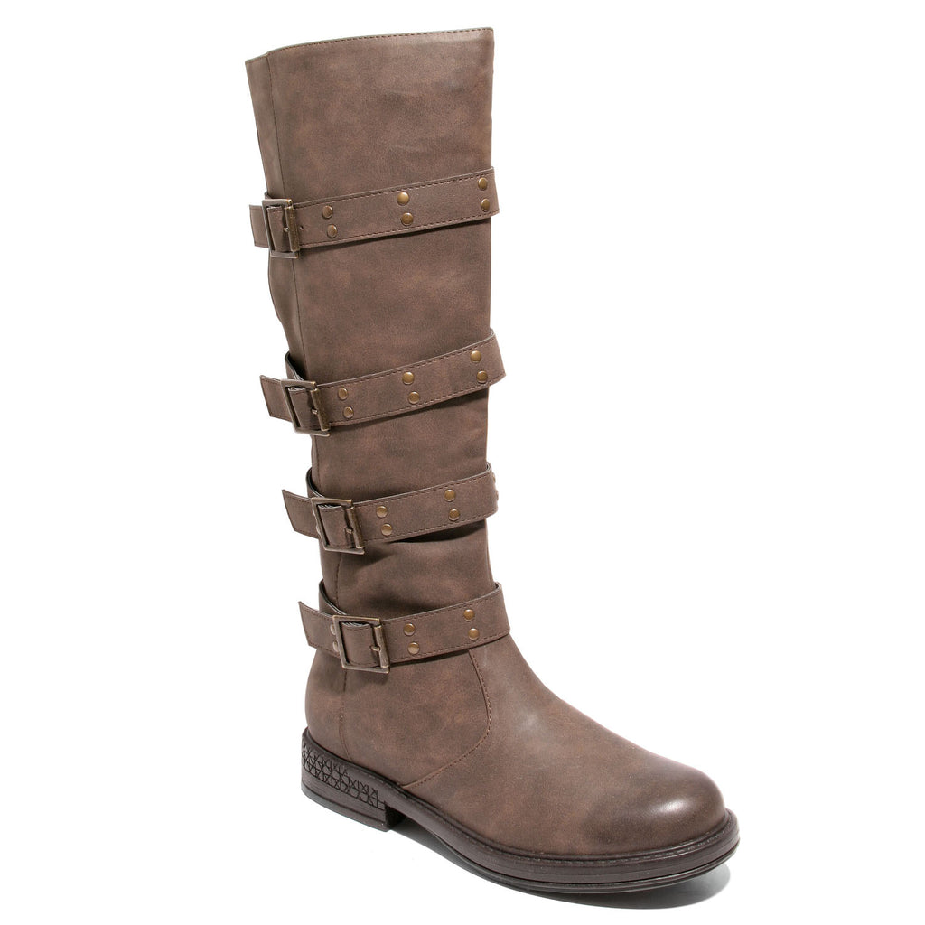 Three quarter view brown four buckle boots