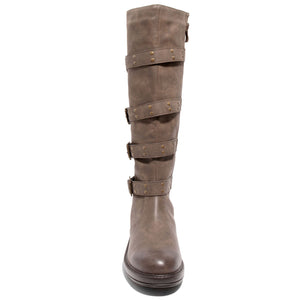 front view brown four buckle boots
