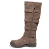 side view brown four buckle boots