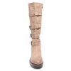top view taupe four buckle boots