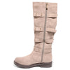 side view taupe four buckle boots