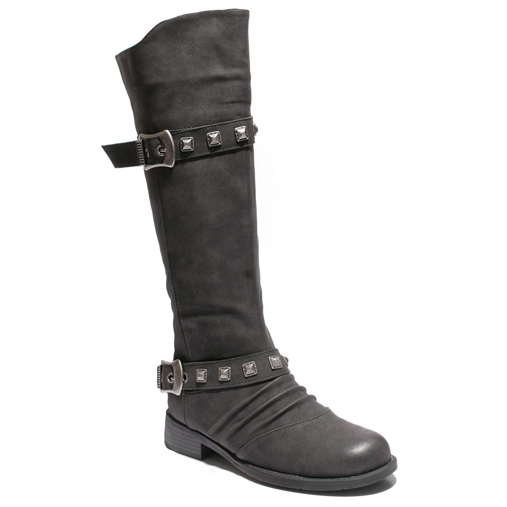 three quarter view black boots with adjustable calf