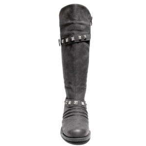 front view black boots with adjustable calf