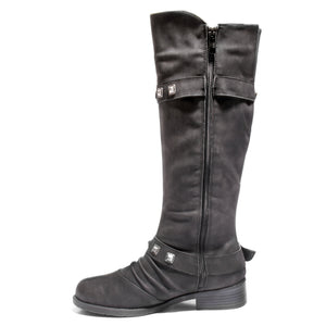 side view black boots with adjustable calf