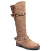 three quarter view taupe boots with adjustable calf