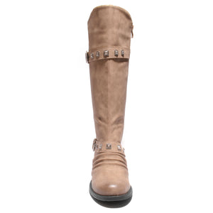 front view taupe boots with adjustable calf