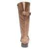 back view taupe boots with adjustable calf