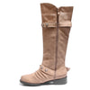 side view taupe boots with adjustable calf