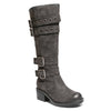 three quarter view black riding boots with four buckles