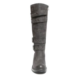 front view black riding boots with four buckles