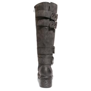 back view black riding boots with four buckles
