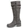 side view black riding boots with four buckles