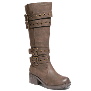 three quarter view brown riding boots with four buckles