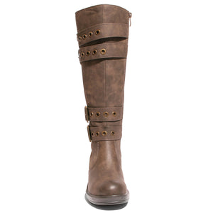front view brown riding boots with four buckles