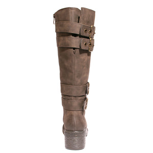 back view brown riding boots with four buckles