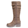 side view brown riding boots with four buckles