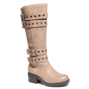 three quarter view taupe riding boots with four buckles