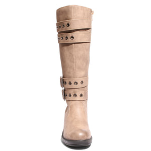 front view taupe riding boots with four buckles