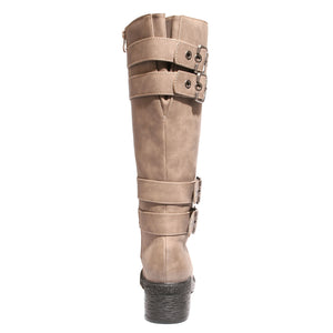 back view taupe riding boots with four buckles