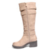 side view taupe riding boots with four buckles