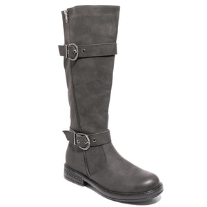 three quarter view black boots with adjustable calf, two buckles and side zipper