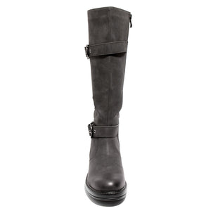 front view black boots with adjustable calf, two buckles and side zipper