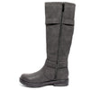 side view black boots with adjustable calf, two buckles and side zipper