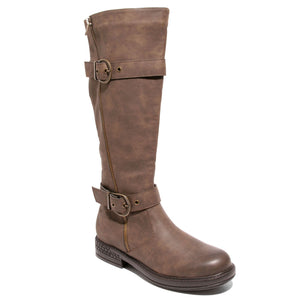 three quarter view brown boots with adjustable calf, two buckles and side zipper