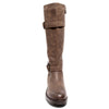 front view brown boots with adjustable calf, two buckles and side zipper