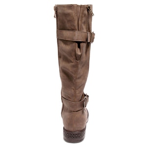 back view brown boots with adjustable calf, two buckles and side zipper