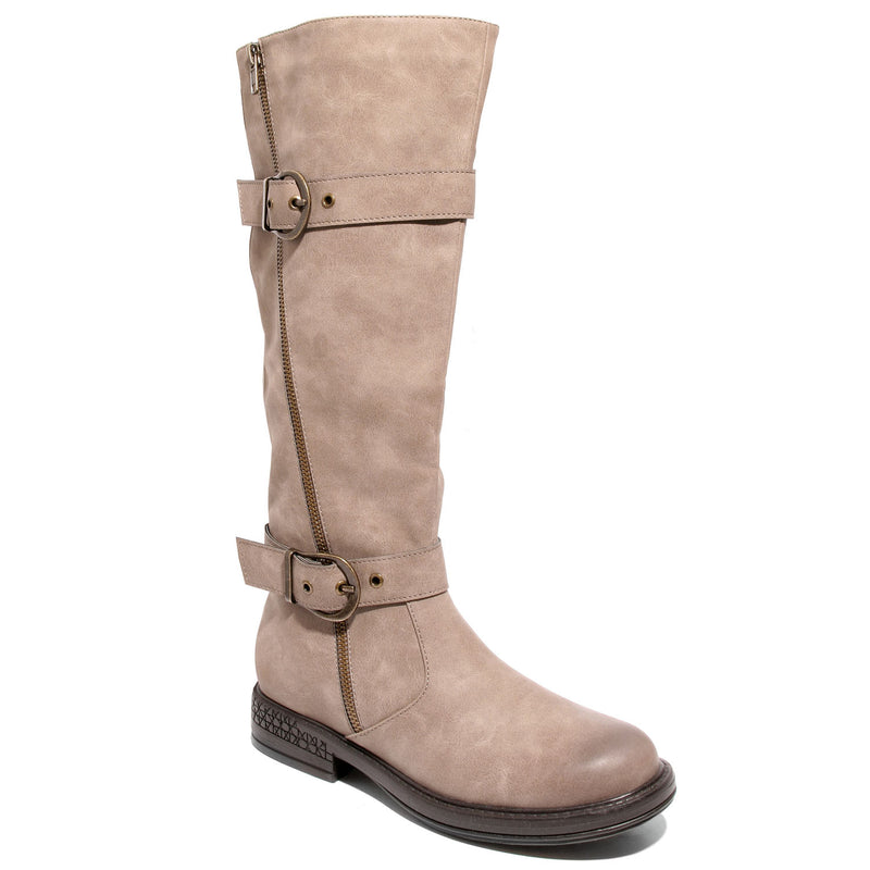 Three quarter view taupe boots with adjustable calf, two buckles and side zipper