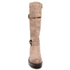 front view taupe boots with adjustable calf, two buckles and side zipper