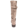 back view taupe boots with adjustable calf, two buckles and side zipper