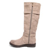 side view taupe boots with adjustable calf, two buckles and side zipper