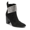 three quarter view black bootie with rhinestone embellished