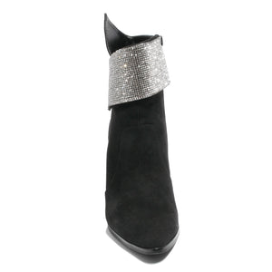 front view black bootie with rhinestone embellished