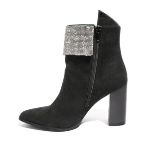 side view black bootie with rhinestone embellished