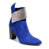 three quarter view blue bootie with rhinestone embellished